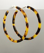 Acrylic 57mm Open Hoop Earrings - Brown/Tortoise