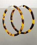 Acrylic 57mm Open Hoop Earrings - Brown/Tortoise