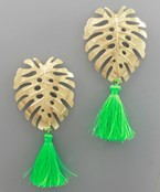 Tropical Leaf and Tassel Earrings - Green/Gold