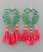 Tropical Leaf and Tassel Earrings - Green/Fuchsia/Gold