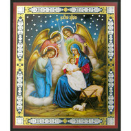 """Nativity Of Christ With Angels Mini Icon 3""""x2 1/2"""""""
