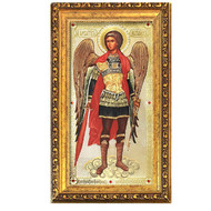 St Michael Icon Framed w/Crystals and Glass