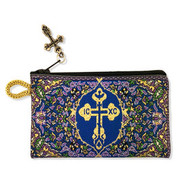 Byzantine Cross, Rosary, Prayer Beads Tapestry Keepsake Holder Pouch - Purple/Blue/Gold