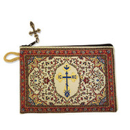 Byzantine Cross RedTapestry Prayer Beads, Rosary, Keepsake Pouch Case Holder