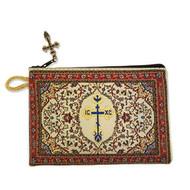 Byzantine Cross RedTapestry Prayer Beads, Rosary, Keepsake Pouch Case Holder