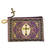 Byzantine Cross Purple Tapestry Prayer Beads, Rosary, Keepsake Pouch Case Holder