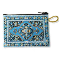 Turquoise Oriental Design Tapestry Pouch Case Purse