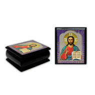 "Christ the Teacher Decopage Icon Box - 2.25"" x 2"""