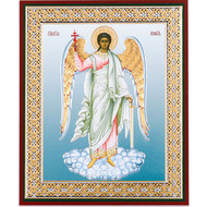 Guardian Angel Gold & Silver Foil Russian Icon Mounted On Wood