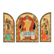 Resurrection of Christ Triptych Wooden Gold Foil