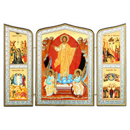 Resurrection of Christ Triptych Gold Foil Mounted on Wood