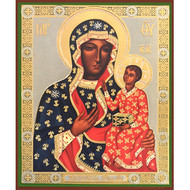 Virgin of Czestohova Black Madonna Russian Wooden Icon
