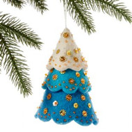 Tiered Blue Tree Felt Ornament