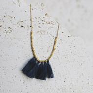Mini Tassel Necklace - Mingled Blue