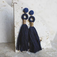 Amber Tassel Earrings - Navy