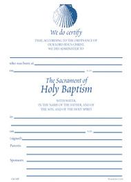 Shell Baptismal Certificate #130R (Pack of 25)