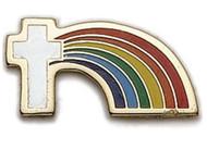 Cross with Rainbow Lapel Pin