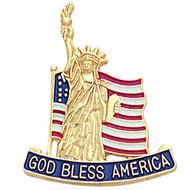 American Flag Statue of Liberty Lapel Pin