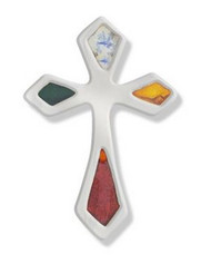 Silver Enameled Cross Lapel Pin