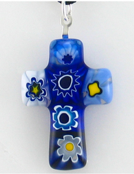 Cross of Faith Pendant - Italian Glass Cross Pendant