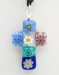 Multicolored Italian Glass Cross Pendant - Small