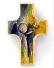 Angel and Dove Pocket Prayer Holding Cross - Wood