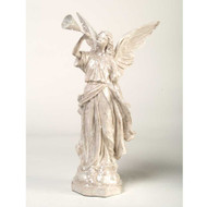 White Glitter Angel with Trumpet (Facing Right)