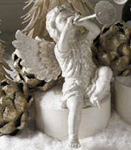 White Glitter Cherub with Horn (Facing Left)