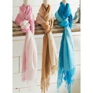 Assorted Tie Dyed Fringed Scarves (Aqua/Pink/Brown)