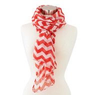 Red & White Chevron Scarf