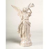 White Glitter Angel with Trumpet (Facing Left)