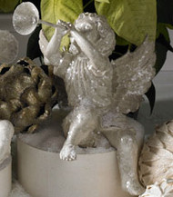 White Glitter Cherub with Horn (Facing Right)