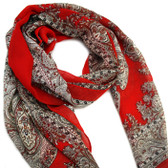 Decorative Print Red Scarf