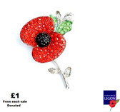 Crystal Remembrance Poppy Brooch
