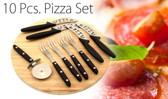 10 Piece Pizza Board, Pizza Cutting Wheel & 4 Knives & Forks Set