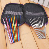 22 pieces Aluminum Crochet Hooks Knitting Set with Bag