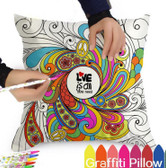 Graffiti Pillow Covers With Colouring Pens - Fantastic Designs