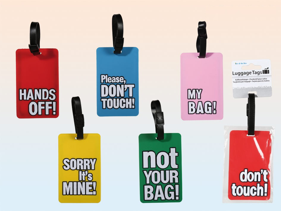 Pack of 6 Luggage Tags with Funny Slogans