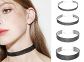 Set of 4 Full Black Diamante Choker Necklaces