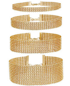Set of 4 Full Gold Diamante Choker Necklaces