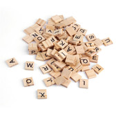 100 Pcs  Wooden Scrabble Tiles Letters