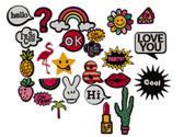 Set of 9 Comic Style Fashion Pins