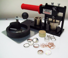 "1"" Tecre FABRIC Button Making Kit  - Machine, Fixed Rotary Circle Cutter, 1000 Pin Back Button Parts-FREE SHIPPING"