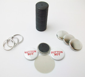 "1"" Tecre Collet Back Magnet Button Parts w/JUST RIGHT FIT Ceramic Magnets 250pcs. - FREE SHIPPING"