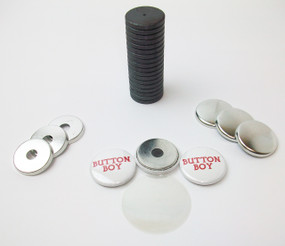 "1"" Tecre Metal Flat Back w/hole and w/JUST RIGHT FIT Ceramic Magnets 250pcs. - FREE SHIPPING"