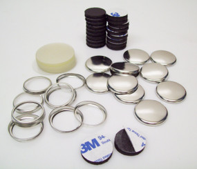 "1"" Collet Back Magnet Button Parts with Rubber Magnets w/ 3M Adhesive 1-1/4 Inch - 100"