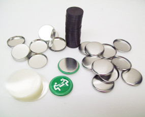 "7/8"" Complete Magnet Parts - METAL FLAT Back Button Parts with PF BEVELED Magnets - 500"