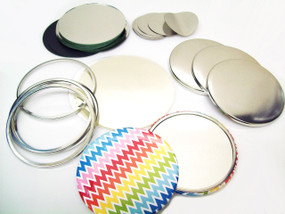 "3-1/2"" Tecre Mirror Button Parts 3.50 Inch - Enough to Make 500 Pocket Cosmetic Mirror Buttons"