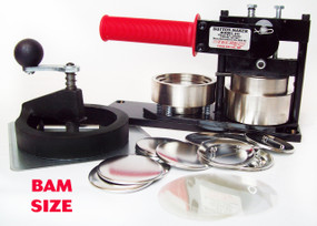 "BAM Size 2-3/8"" (2-1/4"") Tecre Button Machine, Fixed Rotary Cutter, 500 Pin Back Button Parts"