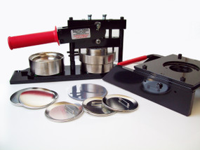 """3"""" PAPER Button Making Kit - Machine, Graphic Punch, 100 Pin Back Button Parts"""